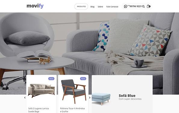 Exemplo de site para loja de móveis feito em WordPress.